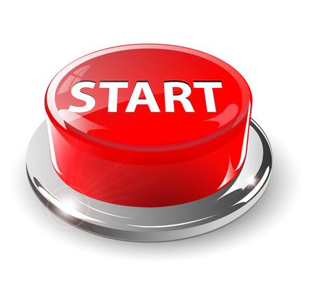 Start button, 3d red glossy metallic Stock Vector - 6554084