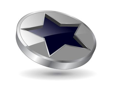 logo, 3d black and metallic star . Stock Vector - 6554109