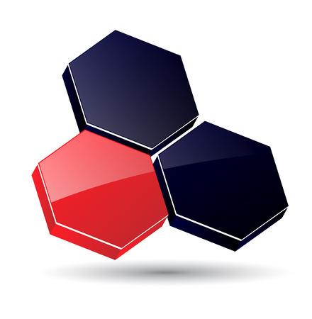 intention: logo 3D hexagones, noir et rouge.  Illustration