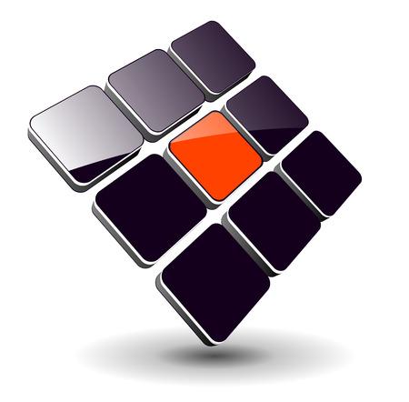 Logo - 3d glanzende kubussen, dynamische logo voor uw bedrijf. Logo