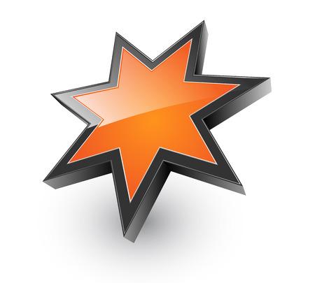 Logo 3D glanzende oranje sterren, illustratie Logo