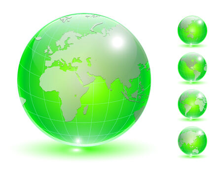 Earth globe, transparent crystal different views. Vector