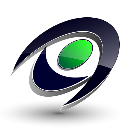 logo marketing: Logo 3d abstract dynamic shape,  black and green.