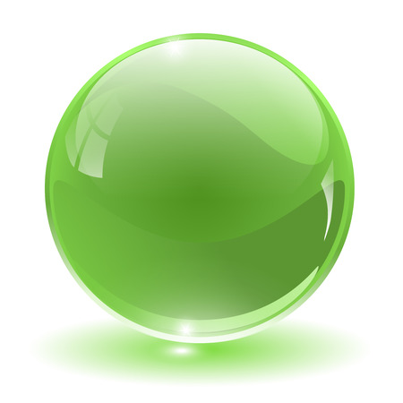 crystal clear: 3D crystal, glass sphere,  illustration.