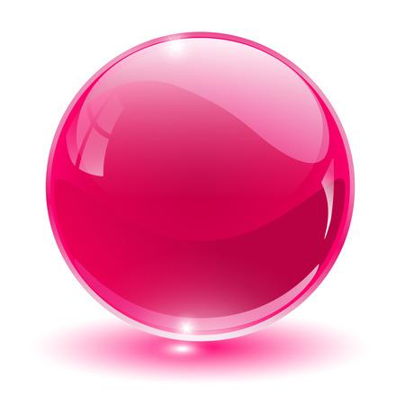 3D crystal, glass sphere, illustration.
