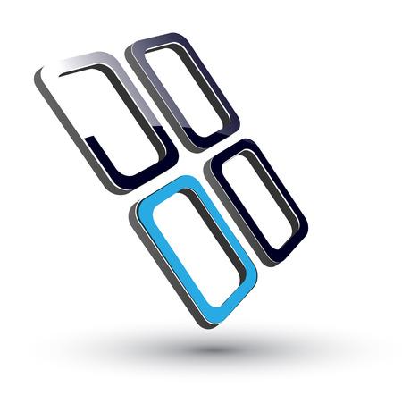 logo: Logotipo - 3d cubos brillantes, negro y azul.  Vectores