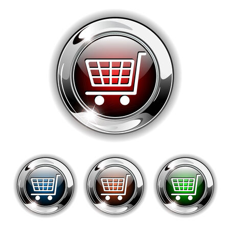 chrome cart: Shopping cart, buy icon, button. Realistic illustration. Illustration