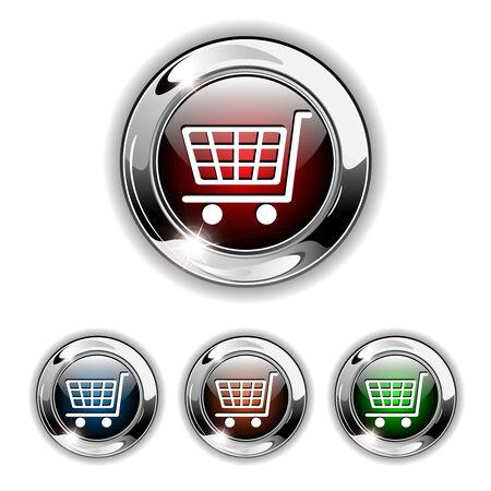 add: Shopping cart, buy icon, button. Realistic illustration. Illustration