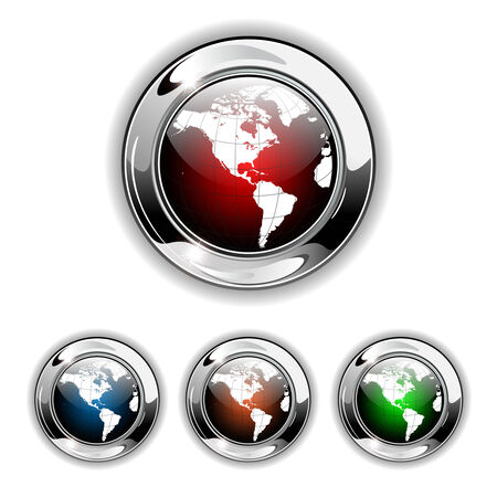 Globe world icon, button. Realistic  illustration. Vector