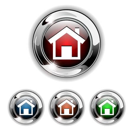 icone maison: Ic�ne accueil, bouton. Illustration r�aliste.