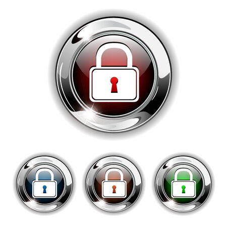 Padlock, secure icon, button. Realistic illustration. Vector