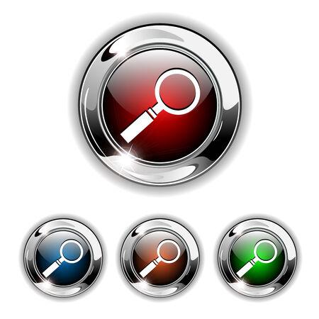 chrome: Search icon, button. Realistic  illustration.