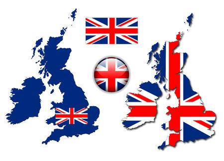 inglese flag: Regno Unito, Inghilterra bandiera, mappa e lucida pulsante, illustrazione impostato.  Vettoriali