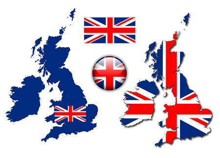 United Kingdom, England flag, map and glossy button, illustration set.