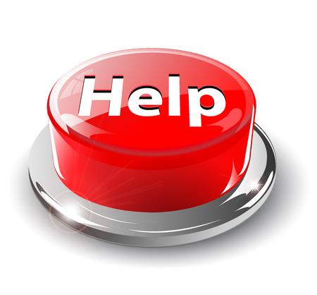 Botón, 3d rojo brillante metálico, ayuda