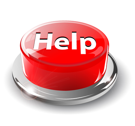 Help button, 3d red glossy metallic, Vector