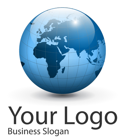 globe logo: Logo earth globe, planet.  illustration.
