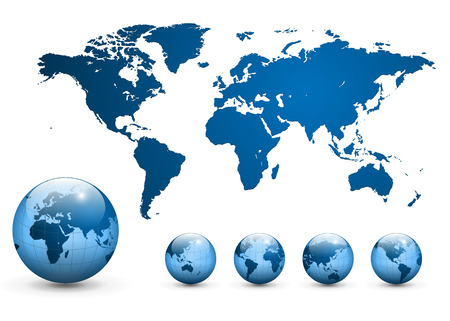 business asia: Map of the world and earth globe