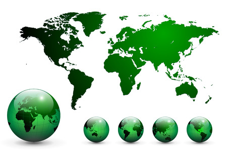 Map of the world and earth globe Stock Vector - 6596791