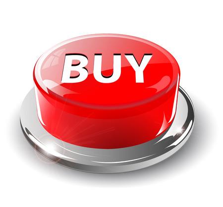 paniek: Kopen knop, 3d rode glanzend metaal,  Stock Illustratie