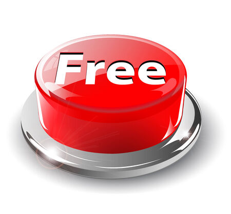 Free button, 3d red glossy metallic, Stock Vector - 6596408