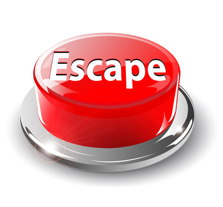 Escape, panic button, 3d red glossy metallic, Stock Vector - 6596795
