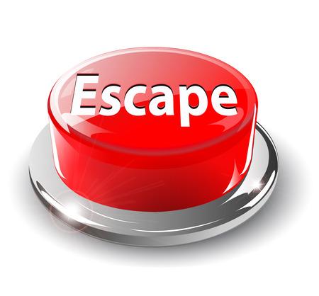 panic button: Fuggire, pulsante di panico, 3d rosso lucido metallico,