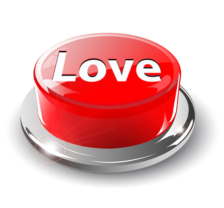 Love button, 3d red glossy metallic Stock Vector - 6596793