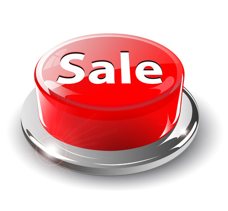 Sale button, 3d red glossy metallic Stock Vector - 6596797