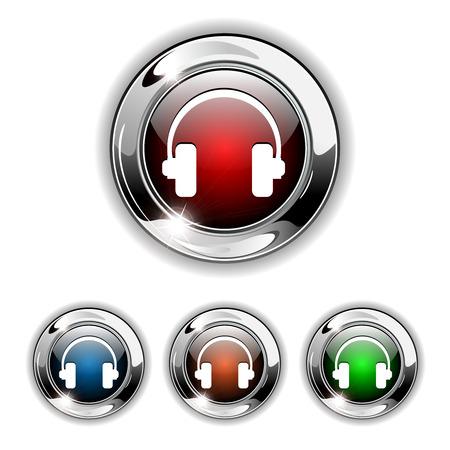 Headphones icon, button. Realistic  illustration. Vector