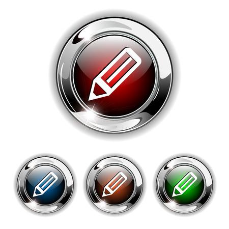 Pen icon, button. Realistic illustration. Vector
