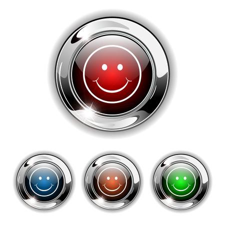 Smile, happy icon, button. Realistic illustration. Vector