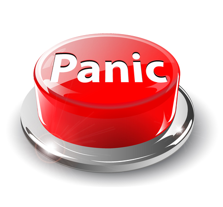 Panic button, 3d red glossy metallic Vector