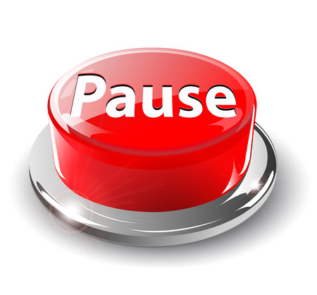pause button: Pause button, 3d red glossy metallic,