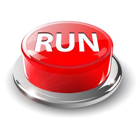 Run button, 3d red glossy metallic Stock Vector - 6596964
