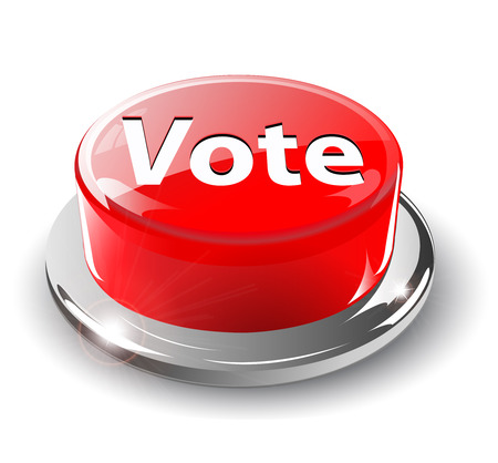 vote button: Vote button, 3d red glossy metallic Illustration