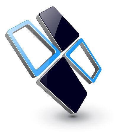 logo marketing: logo 3D design blue and black,  illustration.
