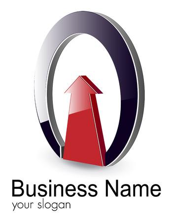 Logo 3d flèche brillant rouge et ellipse, illustration.