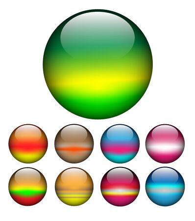 Glass spheres, balls multicolored web buttons set, Vetores