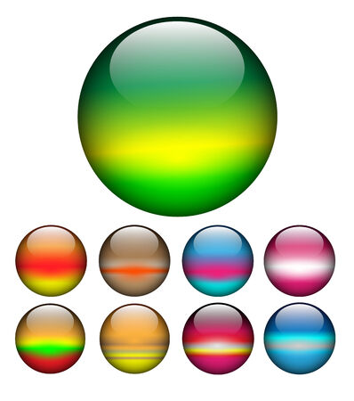rainbow sphere: Glass spheres, balls multicolored web buttons set,