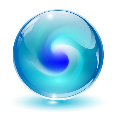 3D crystal, glass sphere with abstract shape inside, illustration. Vector
