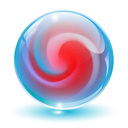 3D crystal, glazen bol met abstracte vorm binnen, illustratie.