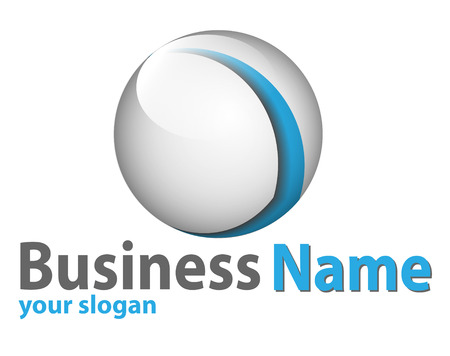 logo marketing: Logo 3d glossy sphere blue and white perfect for your business.
