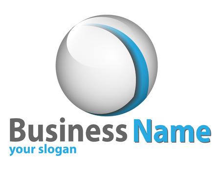 logo: Logotipo 3d de esfera brillante de azul y blanco perfecto para su negocio.