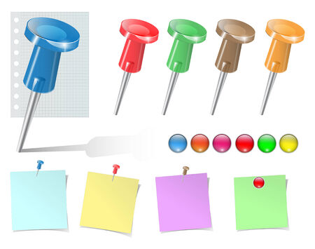 Push pins and stickers   big collection.  Vector