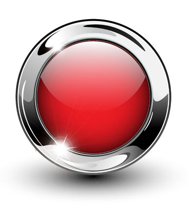 shiny button: High glossy, beautiful blank web button with metallic chrome elements.