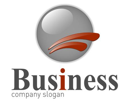 internet mark: Logo modern 3d shape grey and red, illustration.
