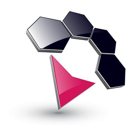 pointer emblem: logo 3d hexagons and arrow, dynamic illustration.