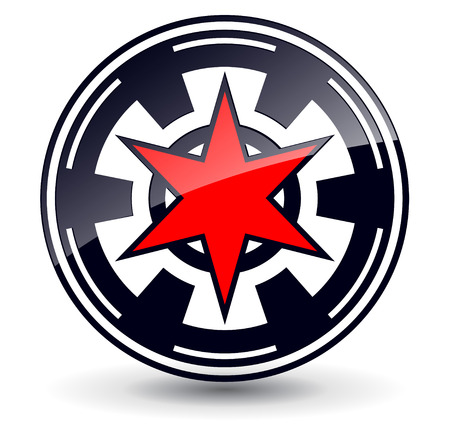 Logo 3d red star in circle,  black and red Vector
