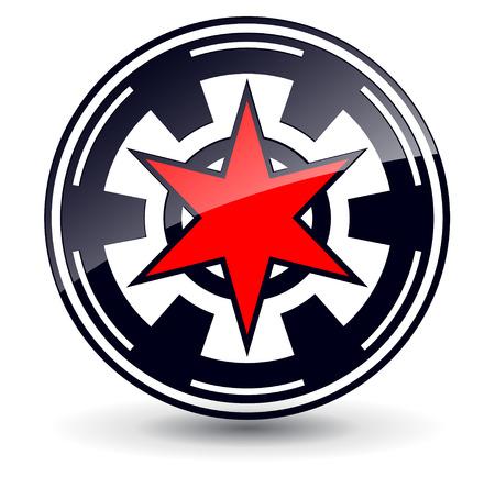 pentagram: Logo 3d red star in circle,  black and red Illustration